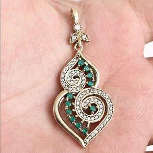 🆕 Silver Ottoman Emerald Brilliant Topaz Pendant